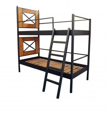 Poschodová posteľ kov - drevo