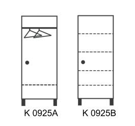 Šatníková skriňa jednodverová A a B
