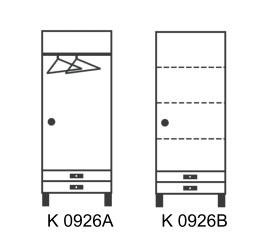 Úzká šatníková skriňa so zásuvkami var. A a B