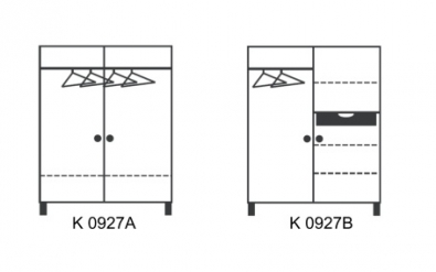 Dvojdverová šatníková skriňa var. A a B