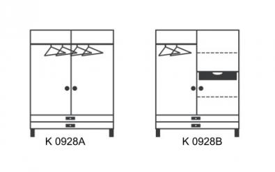 dvojdverová skriňa so zásuvkami - schéma